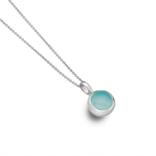 Blue Chalcedony Pendant Solid Silver Real Stone 925 Hallmarked All Chain Lengths